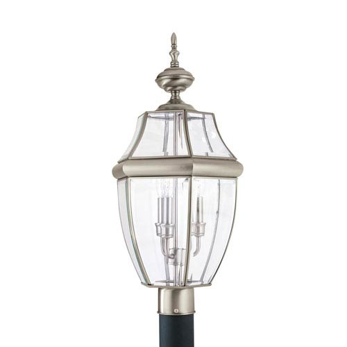 Sea Gull Lighting Lancaster Antique Brushed Nickel 12-Inch Energy Star Three-Light Outdoor Post Lantern