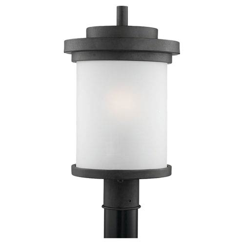 Winnetka One-Light Forged Iron Outdoor Post Lantern with Satin Etched Glass