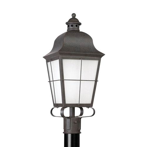 Sea Gull Lighting Chatham Oxidized Bronze 9-Inch One-Light Outdoor Post Lantern