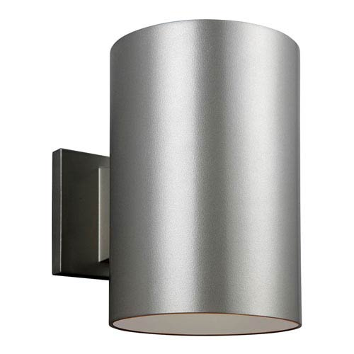 Sea Gull Lighting Outdoor Painted Brushed Nickel Six-Inch One-Light Wall Lantern