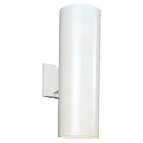 Outdoor Cylinders White Six-Inch Two-Light Outdoor Wall Mount
