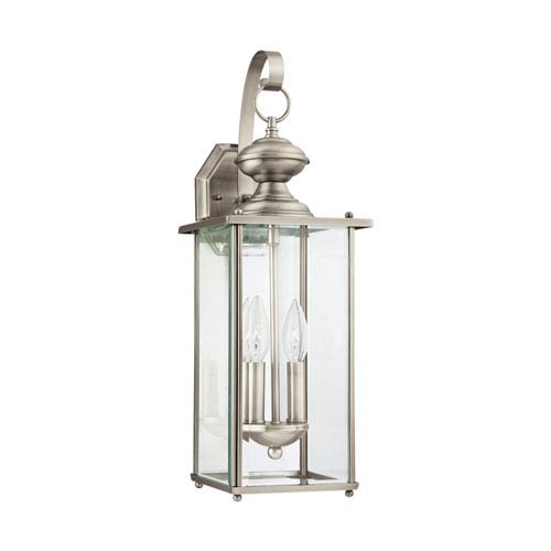 Jamestowne Antique Brushed Nickel 7-Inch Energy Star Two-Light Outdoor Wall Lantern
