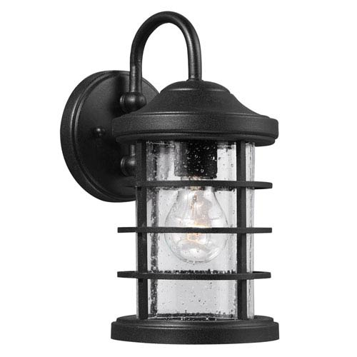 Sea Gull Lighting Sauganash Black 12.25-Inch One Light Outdoor Wall Lantern