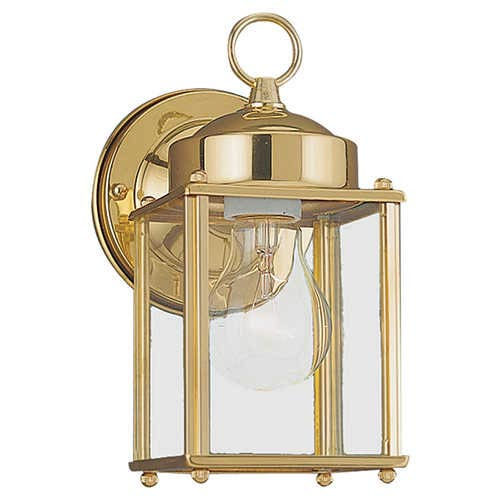 Sea Gull Lighting New Castle Polished Brass One-Light Outdoor Wall Lantern