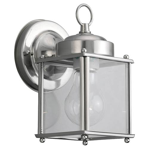 Sea Gull Lighting New Castle Antique Brushed Nickel One-Light Outdoor Wall Lantern