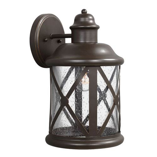 Sea Gull Lighting Lakeview Antique Bronze Fluorescent One-Light Large Outdoor Wall Lantern with Etched Seeded Glass