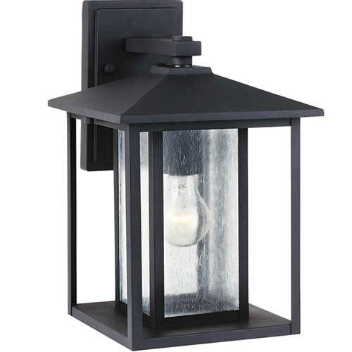 Sea Gull Lighting Hunnington Black 9-Inch Wide One-Light Outdoor Wall Lantern with Clear Seeded Glass