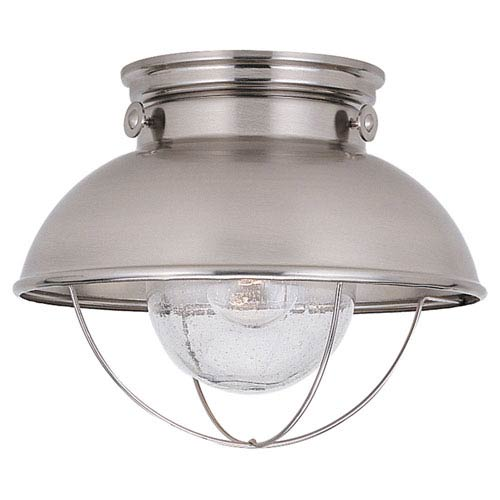 Sebring Brushed Stainless LED Outdoor Ceiling Flush Mount Finish with Clear Seeded Glass