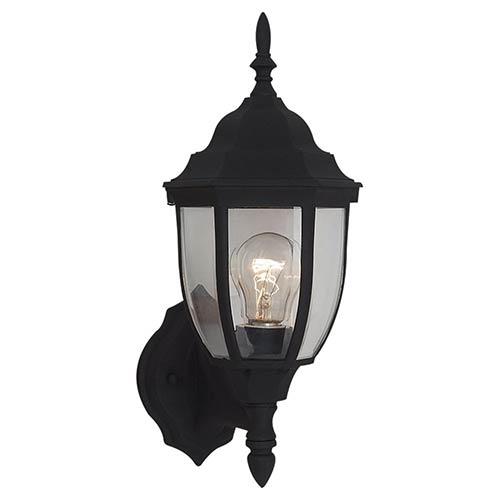 Sea Gull Lighting Bakersville Black 15.5-Inch High One-Light Outdoor Wall Lantern