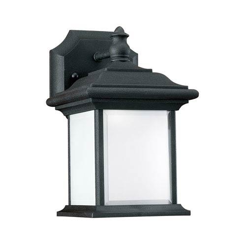 Sea Gull Lighting Wynfield Black 6-Inch One-Light Outdoor Wall Lantern