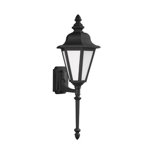 Sea Gull Lighting Brentwood Black 10-Inch One-Light Outdoor Wall Lantern