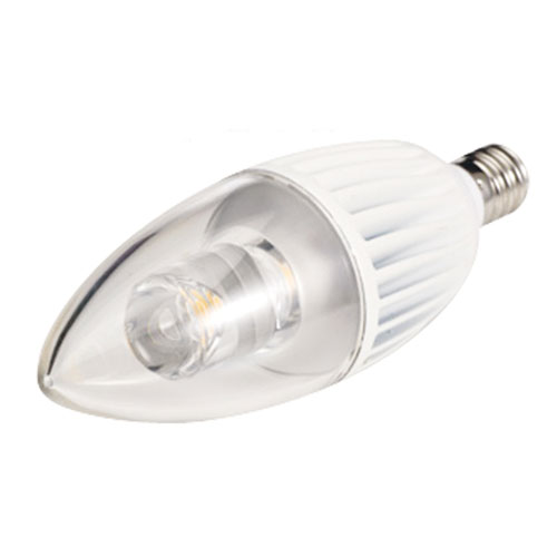 White LED with Clear B10 Candelabra Base 3000K