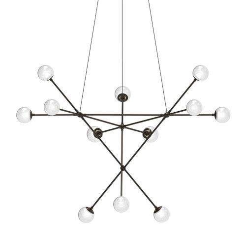Proton Polished Black Nickel 12-Light Alpha LED Pendant with White Crushed Glass