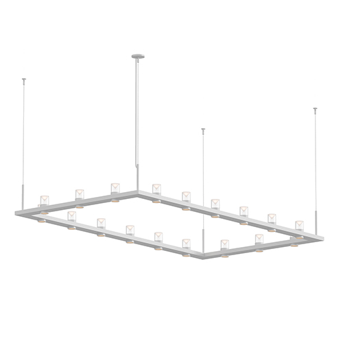 Intervals Satin White 18-Light LED Pendant with Clear Etched Cone