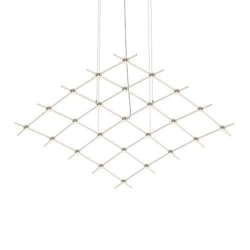 Constellation Satin Nickel 122-Inch Clear Faceted LED Pendant