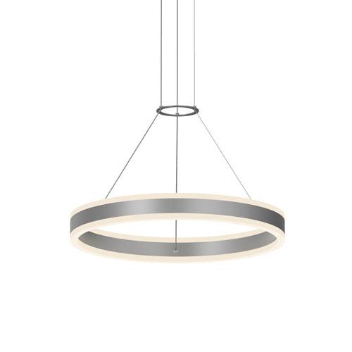 Double Corona Bright Satin Aluminum LED 24-Inch Pendant