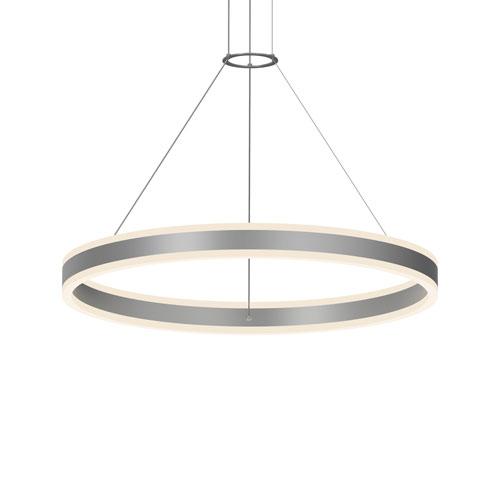 Double Corona Bright Satin Aluminum LED 31.5-Inch Pendant