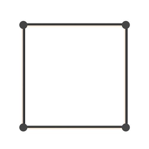 Purolinear 360 Satin Black 25-Inch Four-Light Square LED Wall Bar