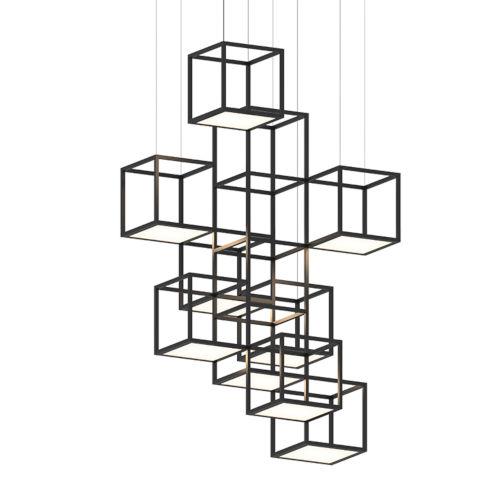 Cubix Satin Black Nine-Light Vertical LED Pendant