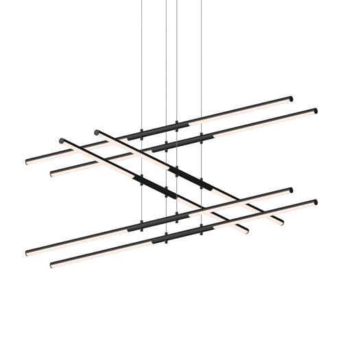 SONNEMAN Tik-Tak Satin Black LED 47.5-Inch Pendant