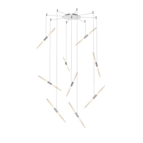 Ballet Satin Aluminum 21-Inch 9-Light Swag LED Pendant