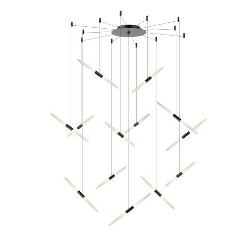 Ballet Satin Black 27-Inch 13-Light Swag LED Pendant