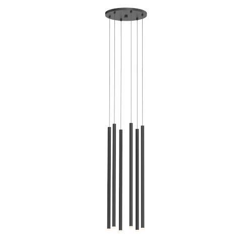 Light Chimes Satin Black 24-Inch 6-Light LED Pendant