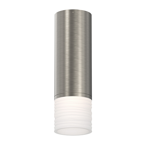 ALC Satin Nickel One-Light LED Flush Mount with Etched Ribbon Glass Trim