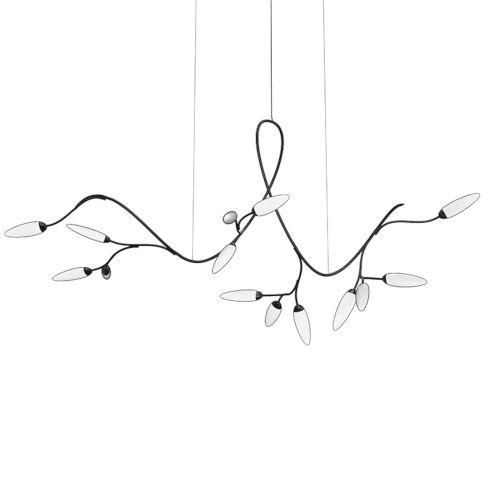 Vines Satin Black 14-Light LED Pendant
