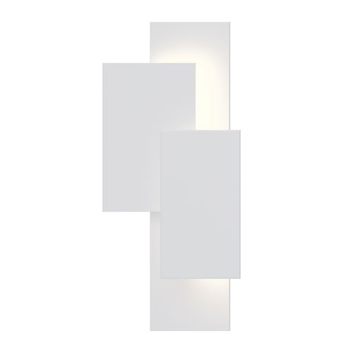Offset Panels Textured White LED 11-Inch Wall Sconce