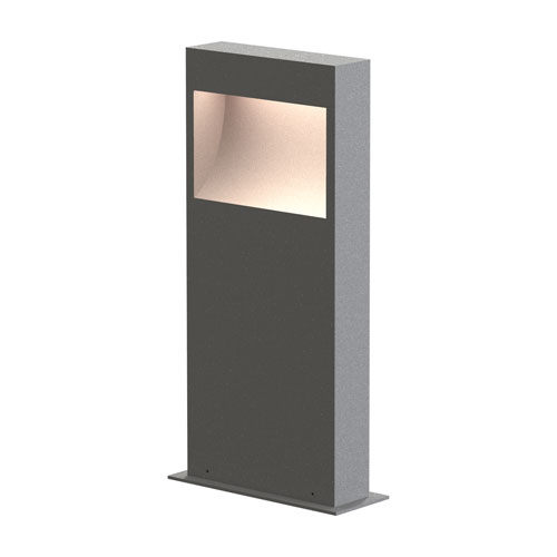 Square Curve Textured Gray LED 7-Inch Bollard