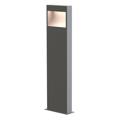 SONNEMAN Square Curve Textured Gray LED 7-Inch Bollard