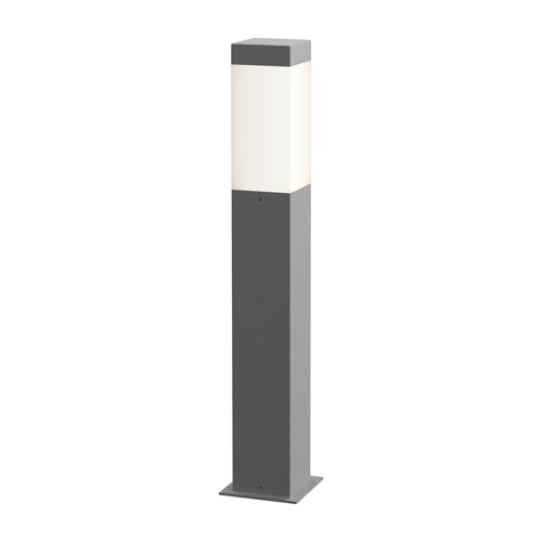 Square Column Textured Gray LED 3-Inch Bollard