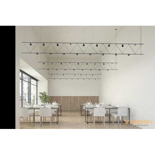 Suspenders Satin Black 14-Feet 17-Light LED Linear Chandelier