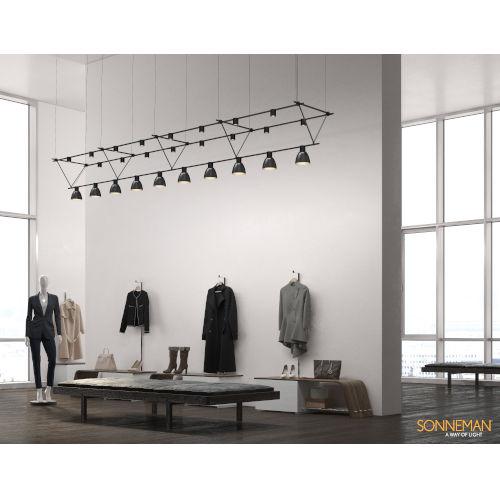 Suspenders Satin Black 14-Feet 26-Light LED Linear Chandelier