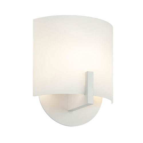 SONNEMAN Scudo Bright Satin Aluminum LED Wall Sconce with White Etched Glass