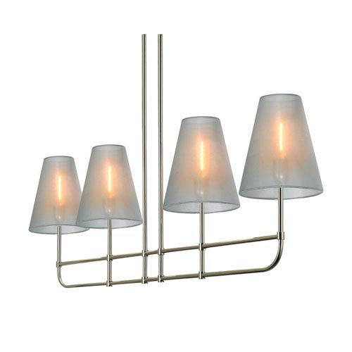 Bistro Four-Light - Polished Nickel with Silver Organza Shade - Bar Pendant