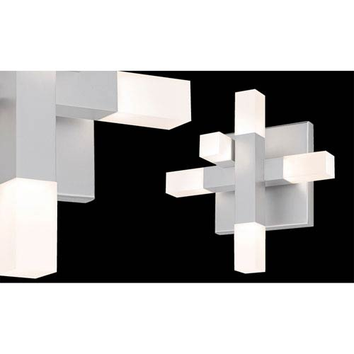Connetix Five-Light - Bright Satin Aluminum with White Etched Acrylic Shade - Wall Sconce