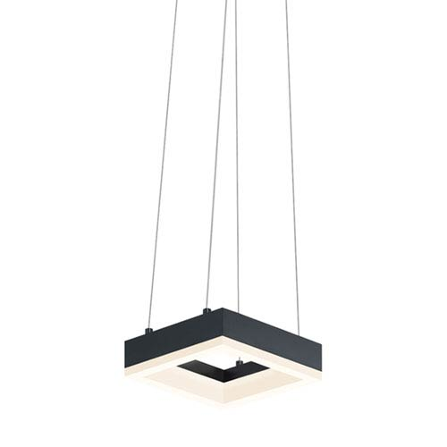 SONNEMAN Corona Satin Black LED Square Mini Pendant with Frosted Acrylic Shade
