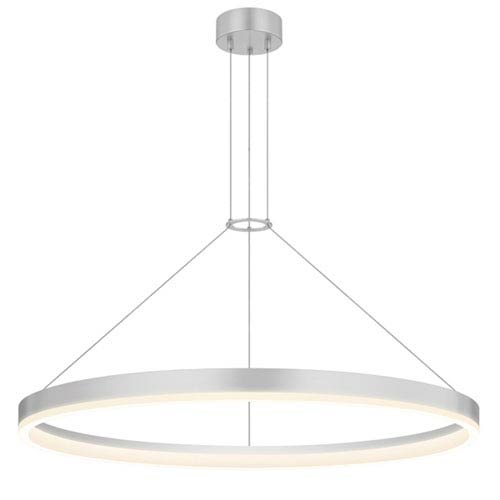 SONNEMAN Corona Bright Satin Aluminum LED 32-Inch Pendant with White Etched Shade