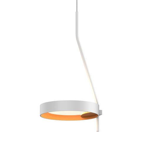 Light Guide Ring Satin White LED Mini Pendant with Apricot Interior Shade