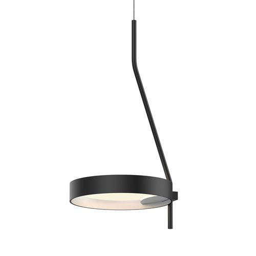 Light Guide Ring Satin Black LED Mini Pendant with Satin White Interior Shade