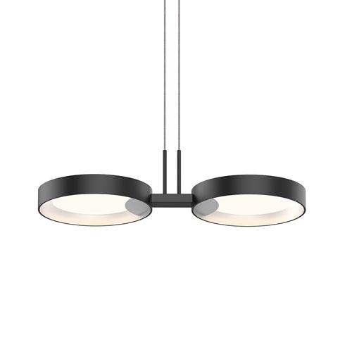 SONNEMAN Light Guide Ring Satin Black Two-Light LED Pendant with Satin White Interior Shade
