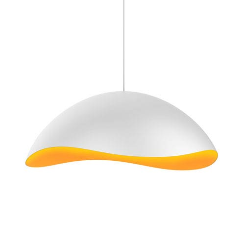 Waveforms Satin White LED Small Dome Pendant with Apricot Interior Shade