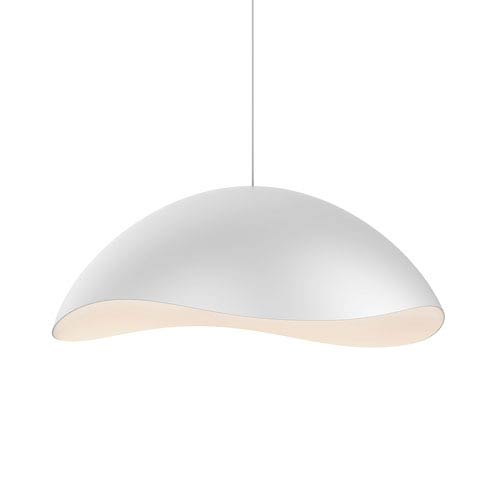 Waveforms Satin White LED Small Dome Pendant with White Interior Shade