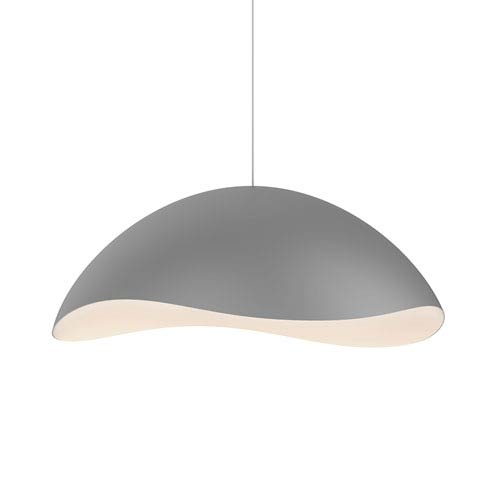 Waveforms Dove Grey LED Small Dome Pendant with White Interior Shade