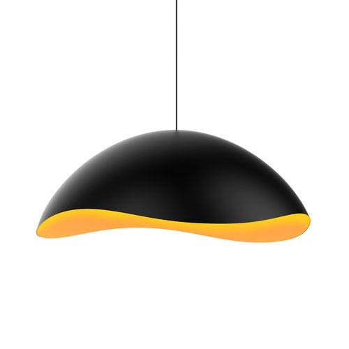 Waveforms Satin Black LED Small Dome Pendant with Apricot Interior Shade