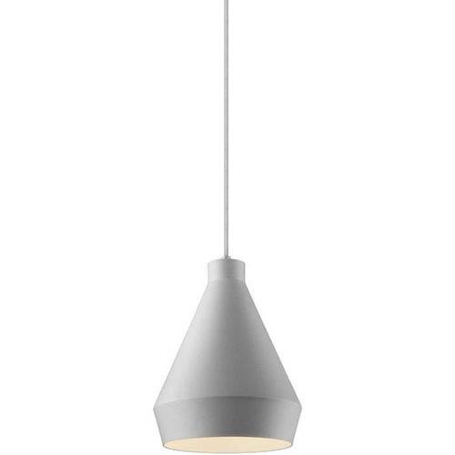 Koma Taisho Bright Satin Aluminum One-Light Mini Pendant with Satin White Interior Shade and Silver Silk Covered Cord