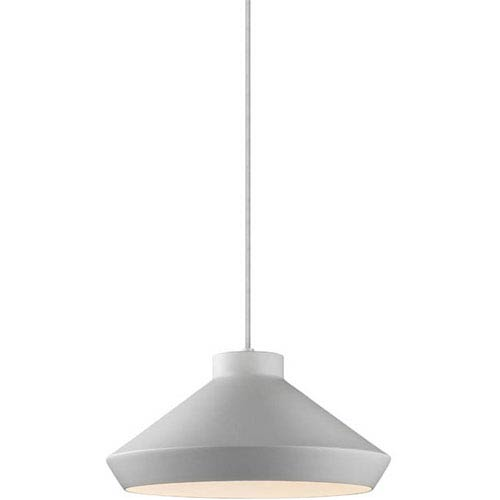 Koma Meiji Bright Satin Aluminum One-Light Pendant with Satin White Interior Shade and Silver Silk Covered Cord