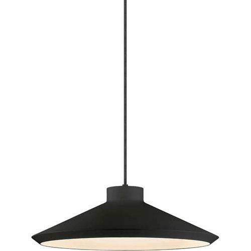 Koma Edo Satin Black One-Light Pendant with Satin White Interior Shade and Black Silk Covered Cord